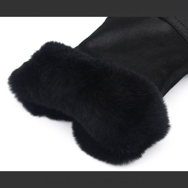 Lapin Noir Doublure Hiver Chaud Femmes Cheveux Fond De Casual Lint blanc Plat Bottes Vrais Duvet Bottes Sxa4qw