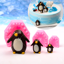 DIY 3D pinguin Schokoladenform Kuchen Dekoration Fondant Dessert Backen Handgemachte Seife ton harz Seifen-kerze-silikon-form