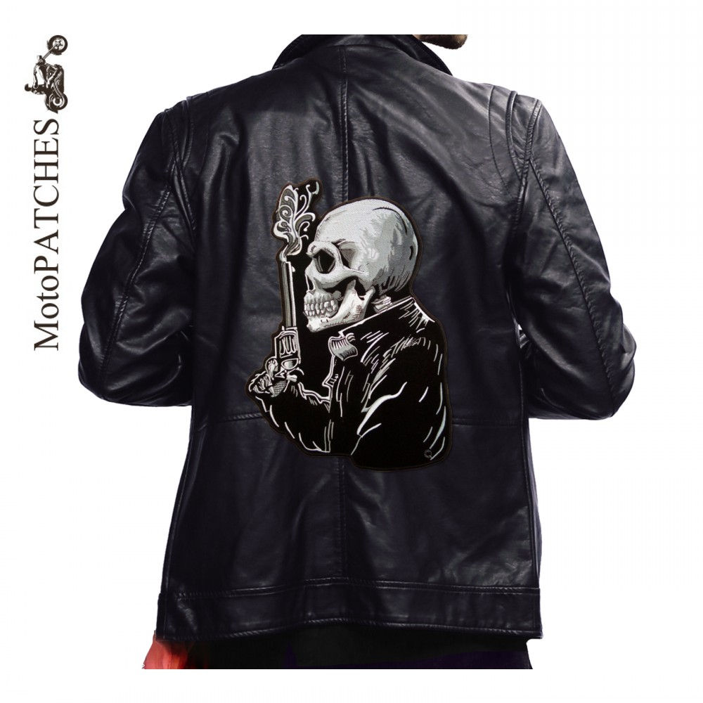 ᗖMoto Parches esqueleto humano pistola hierro bordado en Parches ...