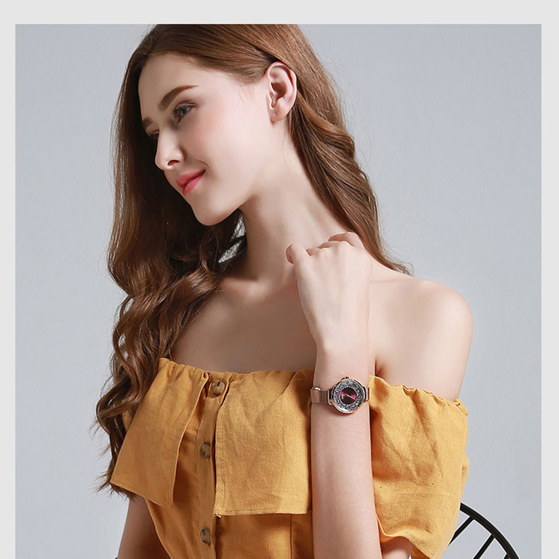 rosa vestido ouro senhoras aço inoxidável pulseira