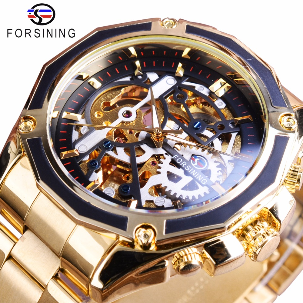 Forsining Steampunk Gear Design Transparent Fall Automatische Uhr Gold Edelstahl Skeleton Luxus Herrenuhr Top-marke Luxus
