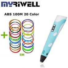 De alta Calidad 3D Pluma Estéreo Dibujo Bolígrafos Impresora 3D Kids Mejor regalo Original Myriwell Pluma modelo 3d 1.75mm Filamentos ABS 20 color