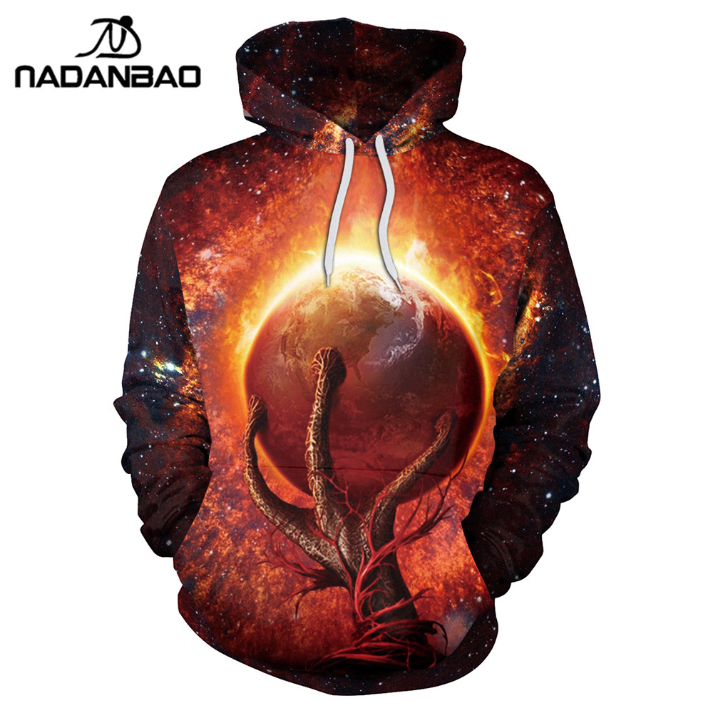 NADANBAO New Style Hiphop Hoodies Galaxy Space 3D Printing Cool Fireball Women Hooded Sweatshirt Coats Casual Sportswear