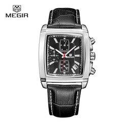 MEGIR Watch Men Chronograph Function Date Lumino Titan Watches Genuine Leather Luxury Brand Military Watches Relogio Masculino