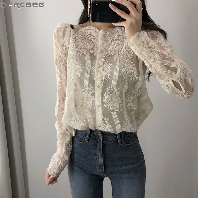 Sexy Off Shoulder Lace Top 2019 New Autumn Fashion Ladies   Blouse   Long Sleeve Elegant Woman   Shirt   Casual Blusa Feminina Strapless