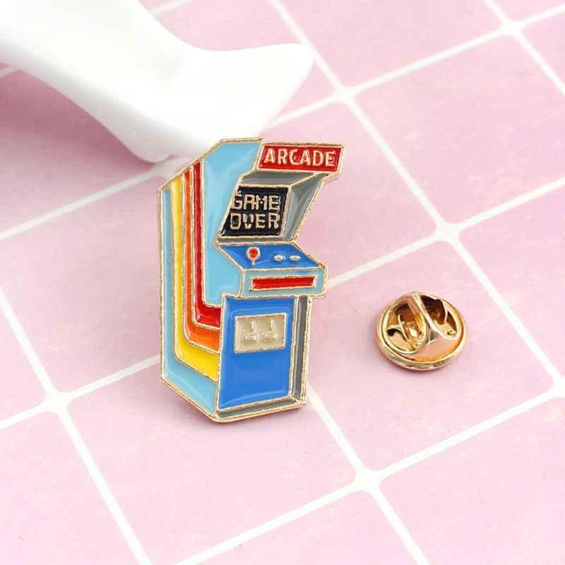 漫画かわいいゲーム機テーブル合金ブローチミニピンバッジエナメルラペルピンかわいいドレス帽子スカーフ装飾アクセサリー