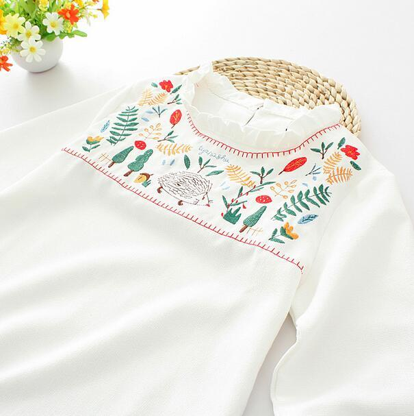 Embroidered tree leaves hedgehog ruffled collar  long  sleeve shirt  top  autumn