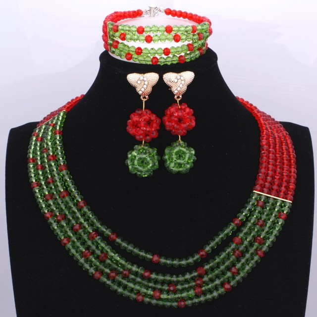 Amazing African Beads Jewelry Set For Women Wedding Red Green Jewelry Set 5 Layers Traditional Nigerian Beads Free Shipping 2018