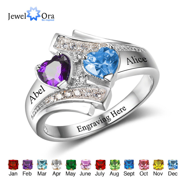 5665f5b8f Engagement Promise Ring Custom Birthstone Engrave Name Ring 925 Sterling  Silver Heart Lover's Gift Rings (JewelOra RI102500)