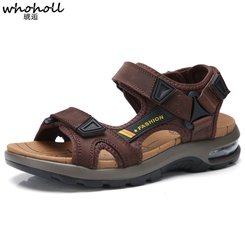 WHOHOLL New Fashion Summer Sandals Outdoor Beach Breathable Men Sandals Leather Men 39 s Sandals Man Causal Shoes Plus Size in Men 39 s Sandals from Shoes