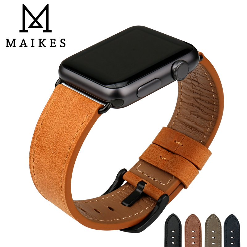 MAIKES Quality Leather Watchband Replacement For Apple Watch Band 44mm 42mm 40mm 38mm Series 4 3 2 1 IWatch Apple Watch Strap