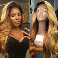 7A Ombre Blonde Dark Roots Wave Hair Full Lace Wig Brazilian Virgin Hair Ombre Color Human Hair Glueless Lace Front Wigs