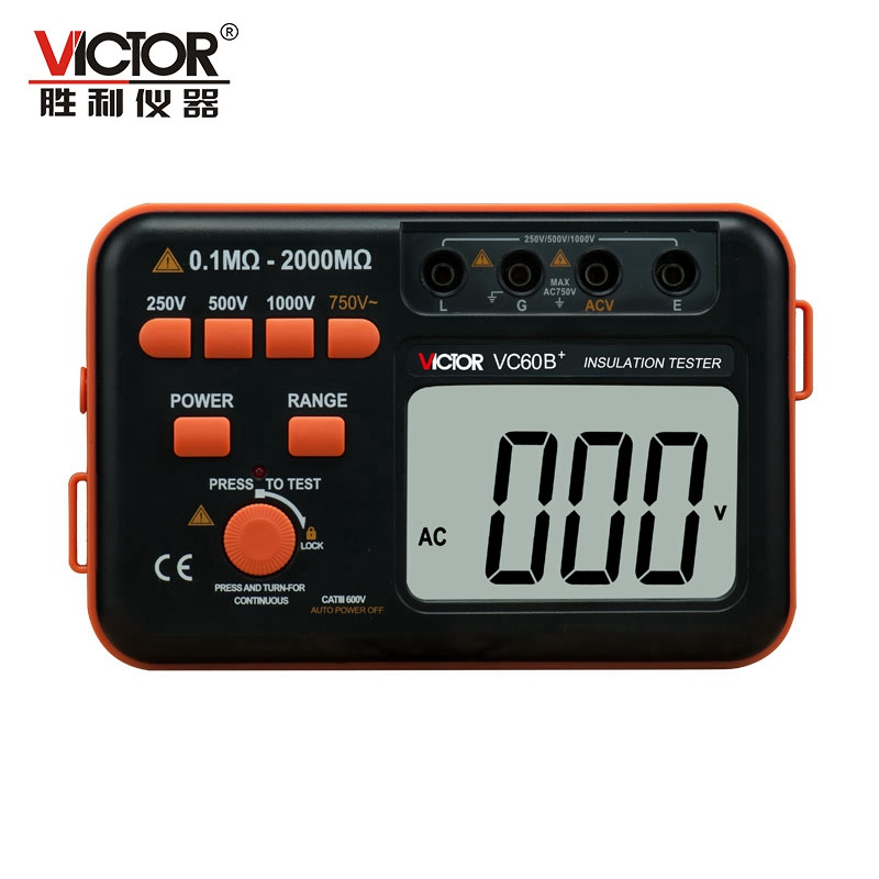 Victor VC60B+ Digital Insulation Resistance Tester Megger MegOhm Meter DC/AC 0.1~2000m ohm 250V/500V/1000V DC Voltage Alarm