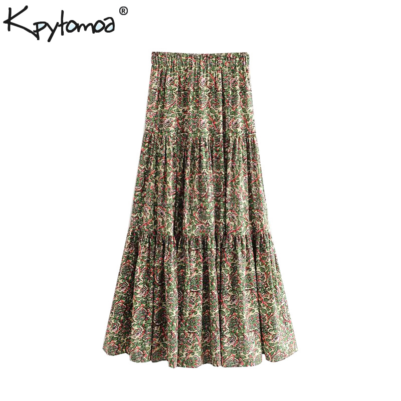Vintage Stylish Floral Print Pleated Maxi Skirt Women 2020 Fashion A Line Elastic Waist Ladies Skirts Casual Faldas Mujer
