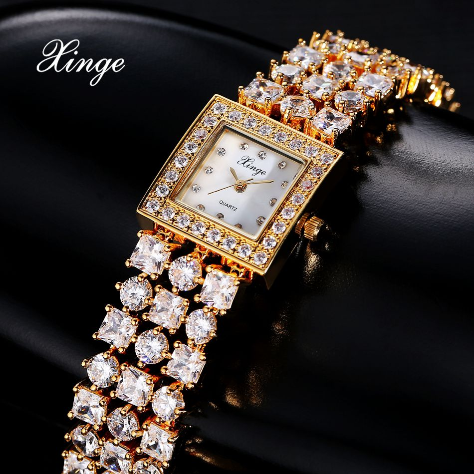 Xinge Brand Gold Watches For Women Crystal Quartz Watch Ladies Zircon Bracelet Watch Luxury Dress Clock Relogio Feminino xinge top brand luxury women watches silver stainless steel dress quartz clock simple bracelet watch relogio feminino