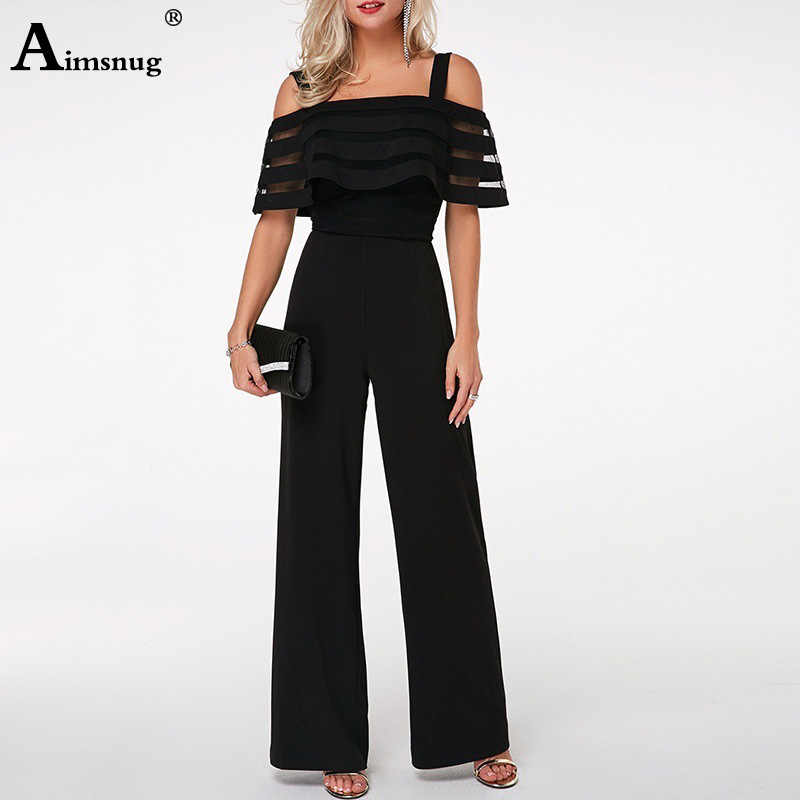 Plus Size 4xl 5xl Long Wide Leg Romper Overlay Embellished Black Strappy Cold Shoulder Jumpsuit Womens Loose Jumpsuits Overalls