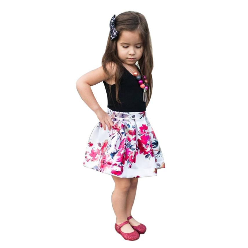 Toddler Infant Baby Girl Sleeveless T shirt Tops+Floral Outfit Clothes Set 0406