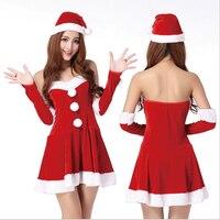 2016 New Women Girls Christmas Princess Dress Cosplay Costume Skirt Hat Bracelet 2