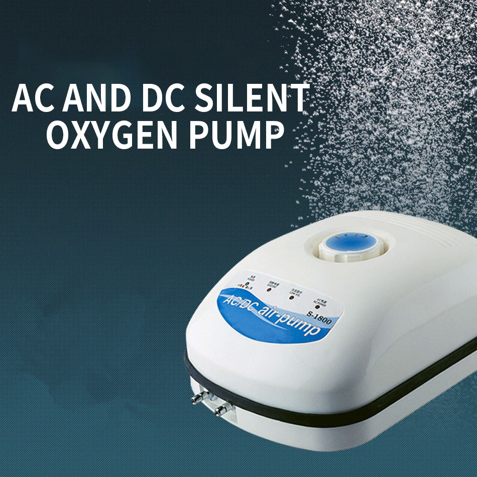 S-1800 Aquarium pompe à oxygène silencieux AC et DC double usage charge