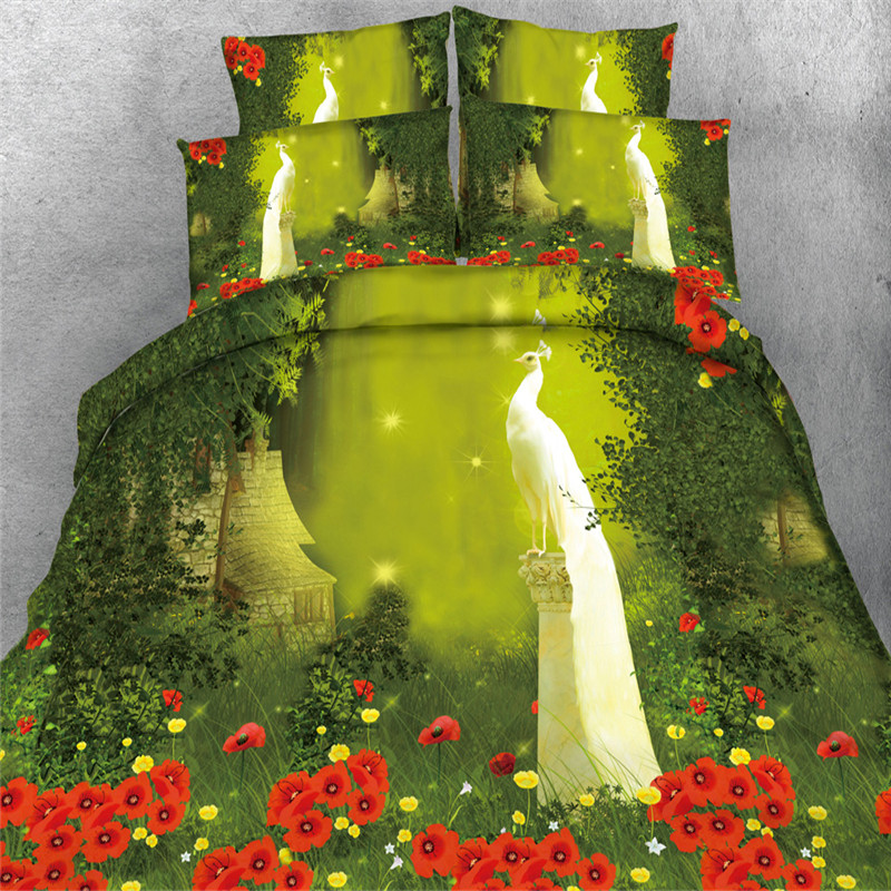 flower garden peacon bedding sets green white twin queen king size 3/4pc 3d qulit cover 500tc pillowcase Kids Boys bed in a bag