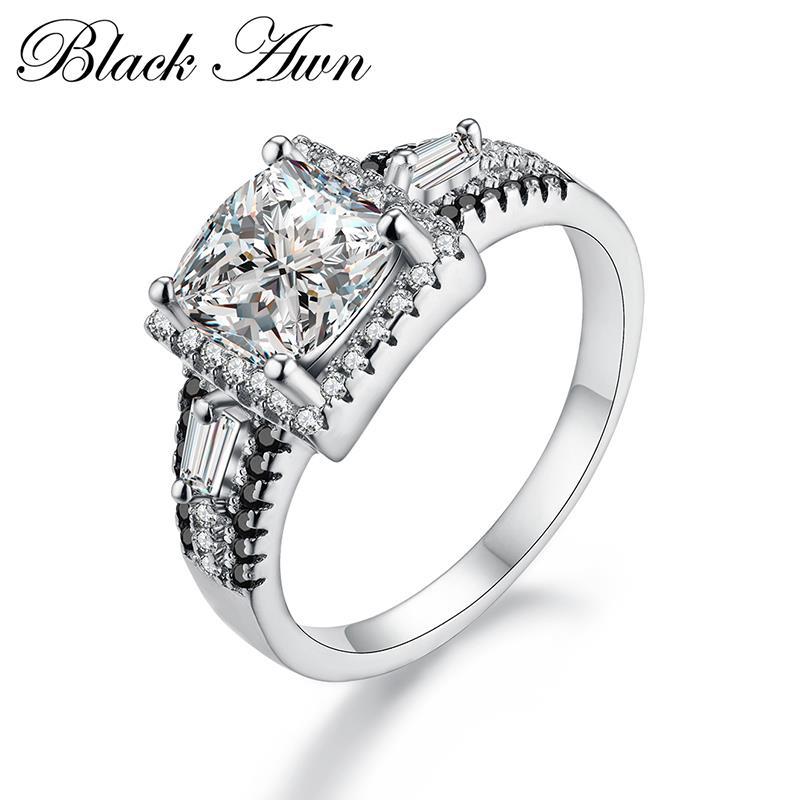QualitäT In schwarz Granne 925 Sterling Silber Edlen Schmuck Trendy Engagement Bague Für Frauen Hochzeit Ringe Größe 6 7 8 C259 üBerlegene Hell