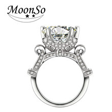 Moonso 925 Sterling Silver Wedding Engagement Ring 6 Carat CZ Diamond Anniversary Party Ring for Women Fashion Ring LR1805S