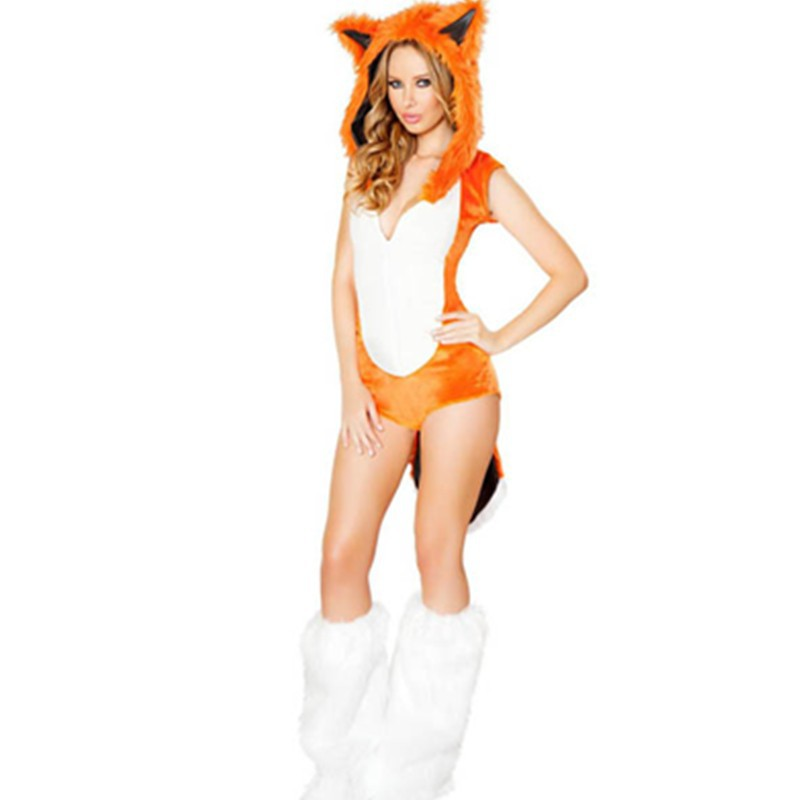 Orange&White Romper Sexy Adults Girls Wide Animal Carton Role Play  Fox Costumes Fancy Halloween Dress with Furry Hood L15226