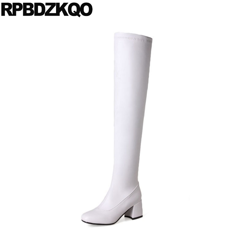 Knee High 12 44 Tall Over The Long Ladies Waterproof White Big Size 13 45 Slim Platform Boots Stretch Chunky Chinese 2017 New