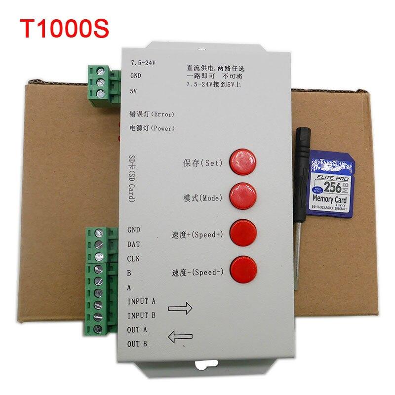 T1000S 2048 Pixels DMX 512 Controlador de Cartão SD WS2801 WS2811 WS2812B LPD6803 DC5V 12 V 24 V RGB Tira CONDUZIDA controlador de cor cheia