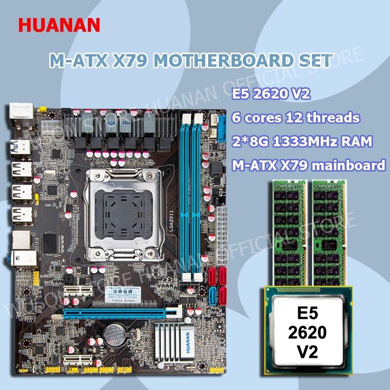 Chegada nova oficial HUANAN X79 motherboard CPU conjunto de memória X79 LGA2011 motherboard Intel Xeon E5 2620 V2 RAM 2 * 8G DDR3 REG ECC