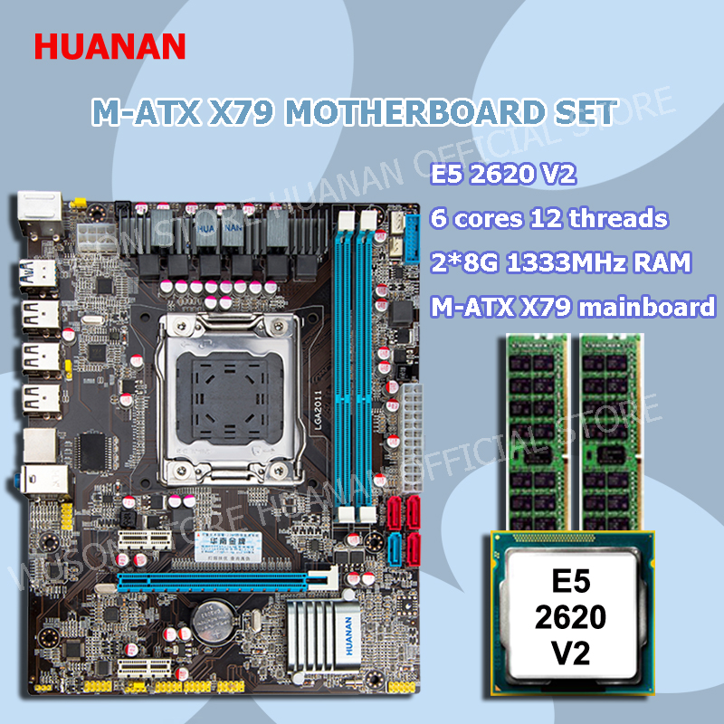 New arrival official HUANAN X79 motherboard CPU memory set X79 LGA2011 motherboard Intel Xeon E5 2620 V2 RAM 2*8G DDR3 REG ECC new arrival huanan x79 motherboard cpu memory combos x79 lga2011 motherboard cpu intel xeon e5 2670 srokx ram 8g ddr3 reg ecc