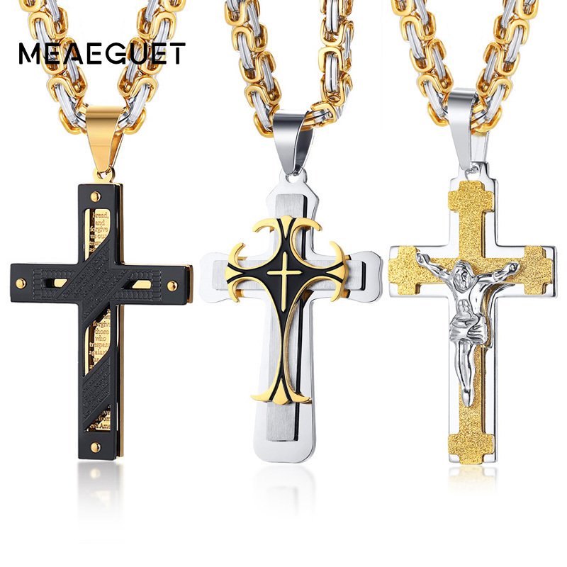 Crucifixo Cross Necklace Men Stainless Steel Byzantine Chain Male Necklaces Pendants 2018 Fashion Christmas Gifts Jewelry crucifixo pingente de ouro masculino