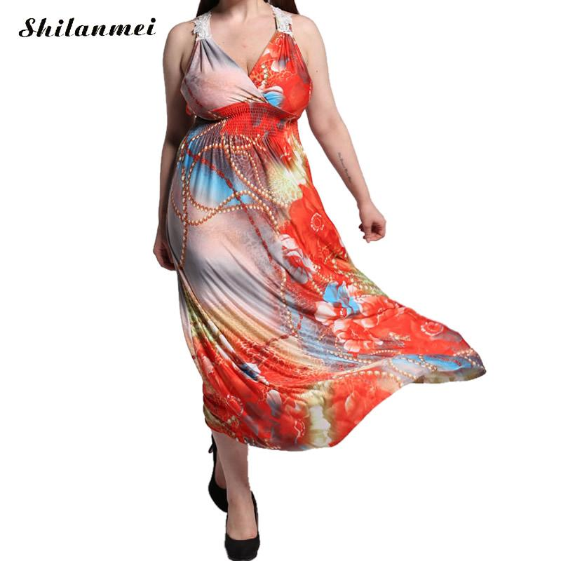 Buy Cheap plus size summer 2016 robe longue femme tropical red floral african print dress elegant lace halter wrap beach maxi vestido 6xl