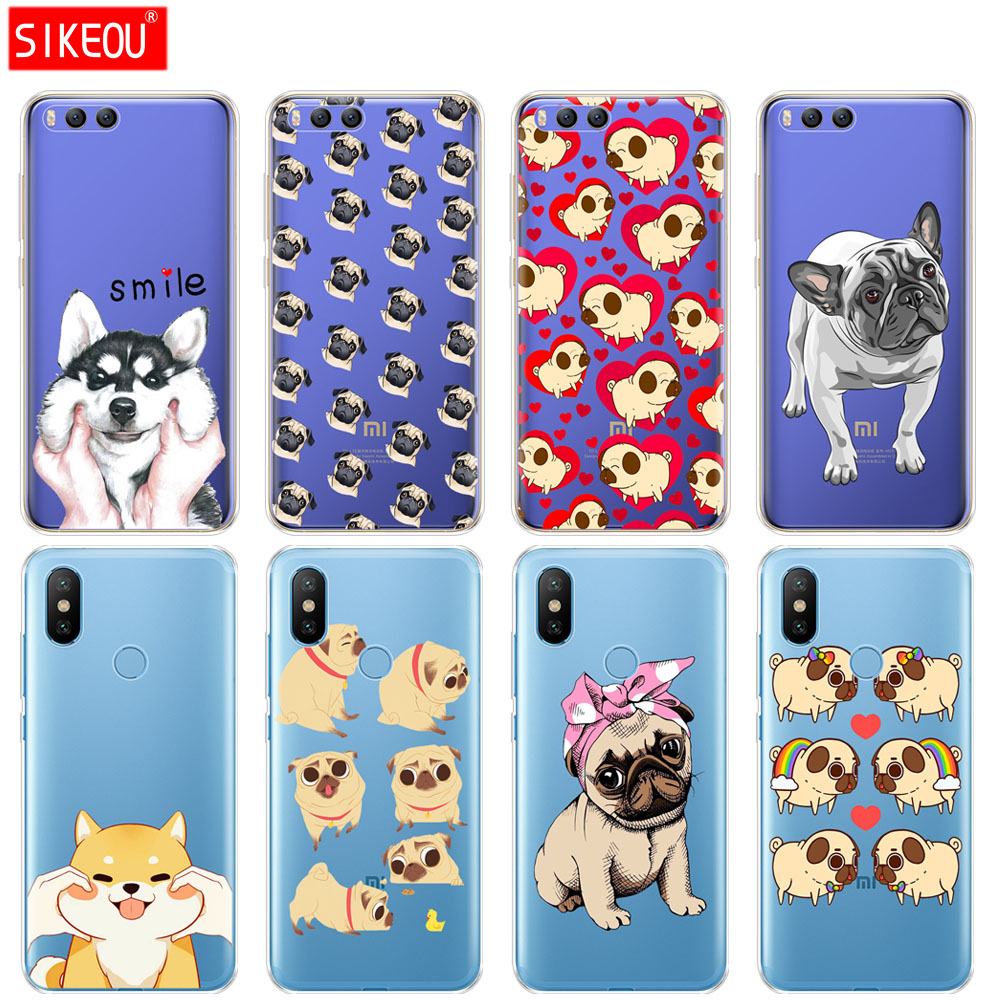Silicone <font><b>Cover</b></font> Case For <font><b>Xiaomi</b></font> <font><b>Mi</b></font> 8 8SE A1 <font><b>A2</b></font> 5 5S 5X 6 Mi5 MI6 NOTE 3 MAX Mix 2 2S Cute <font><b>Pug</b></font> dog Cartoon 360 full protective bag image