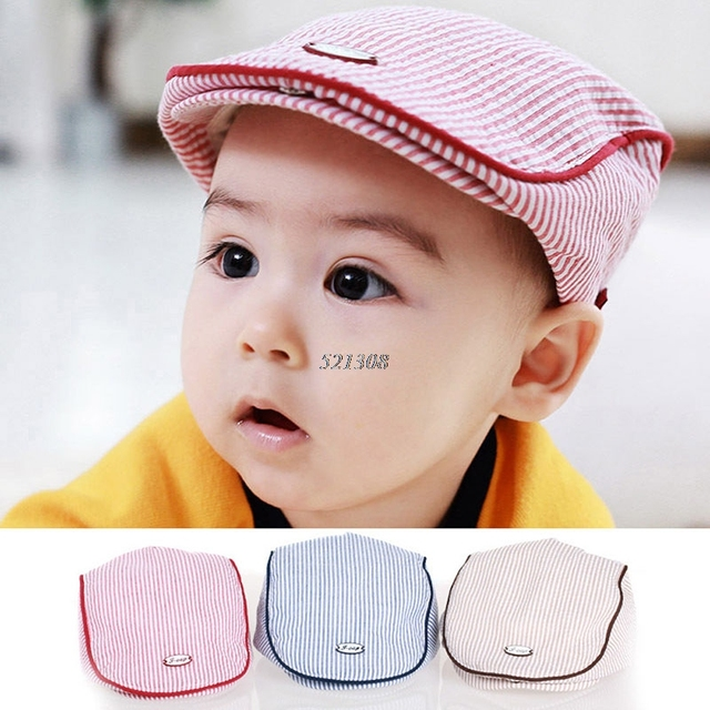 77e90e15 Cute Baby Kids Infant Boy Girl Stripe Beret Cap Peaked Baseball Hat  Casquette