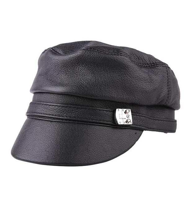 4ee6b2759df placeholder Xongkoro Ladys Full Grain Cow Leather Military Cap Girls Flat  Top Navy Hat Women Superior Cowhide