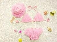 Lindo al por menor Niñas Rosa gasa baño set niños algodón volantes bikini set + sombrero bañadores conjunto con los niños del arco de la cinta dos piezas