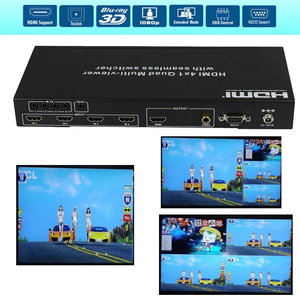 4X1 4 Port seamless Switch HDMI Picture Division 4 by 1 Quad Multi ...
