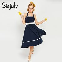 Sisjuly Women Vintage Dress 1950s Style Sexy Spaghetti Strap Sashes Lace Up Bow Retro Dresses Sexy