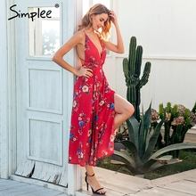 Simplee Sexy v neck backless print jumpsuit romper women Lace up halter high waist short overalls Split wide leg summer jumpsuit
