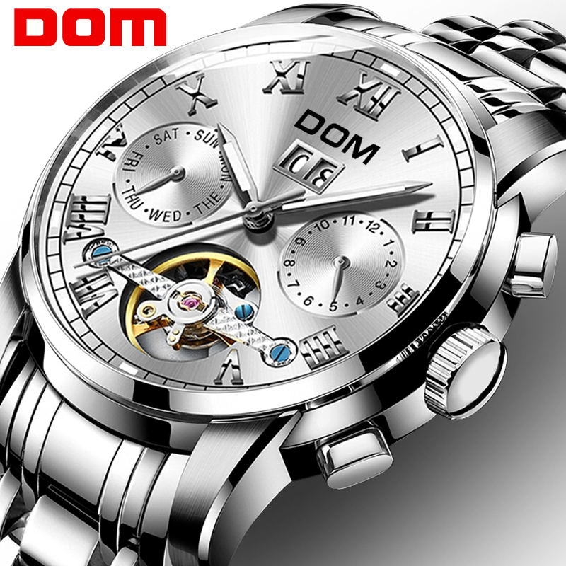 Mechanical Watches Sport DOM Watch Men  Waterproof Clock Mens Brand Luxury Fashion Wristwatch Relogio Masculino M-75D-7M