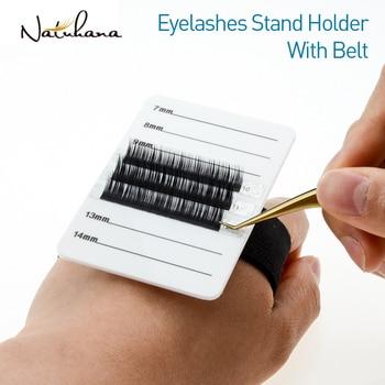 NATUHANA Acrylic Eyelash Extensions Organizer Pallet False Lash Pad Stand Palette Eyelash Adhesive Glue Holder with Belt недорого