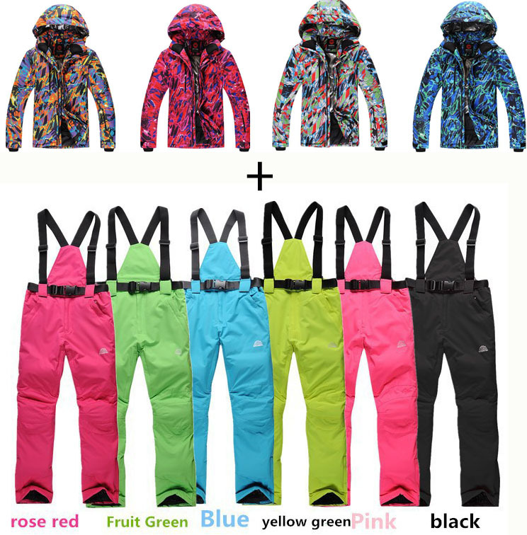 Cheap Women Men snowboard clothes skiing suit sets waterproof&windproof winter -30 warm snow clothing ski sets jackets+pants