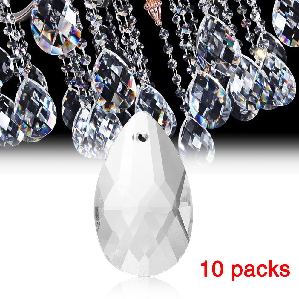10 Clear Crystal Glass Chandelier Lamp Prisms Parts Hanging Drops Pendants 38mm