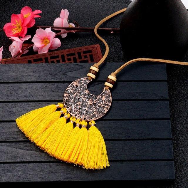 Vintage Boho gland pendentif Collier pour femmes boisé perle rose vert frange en cuir Long Collier ethnique bijoux Collier