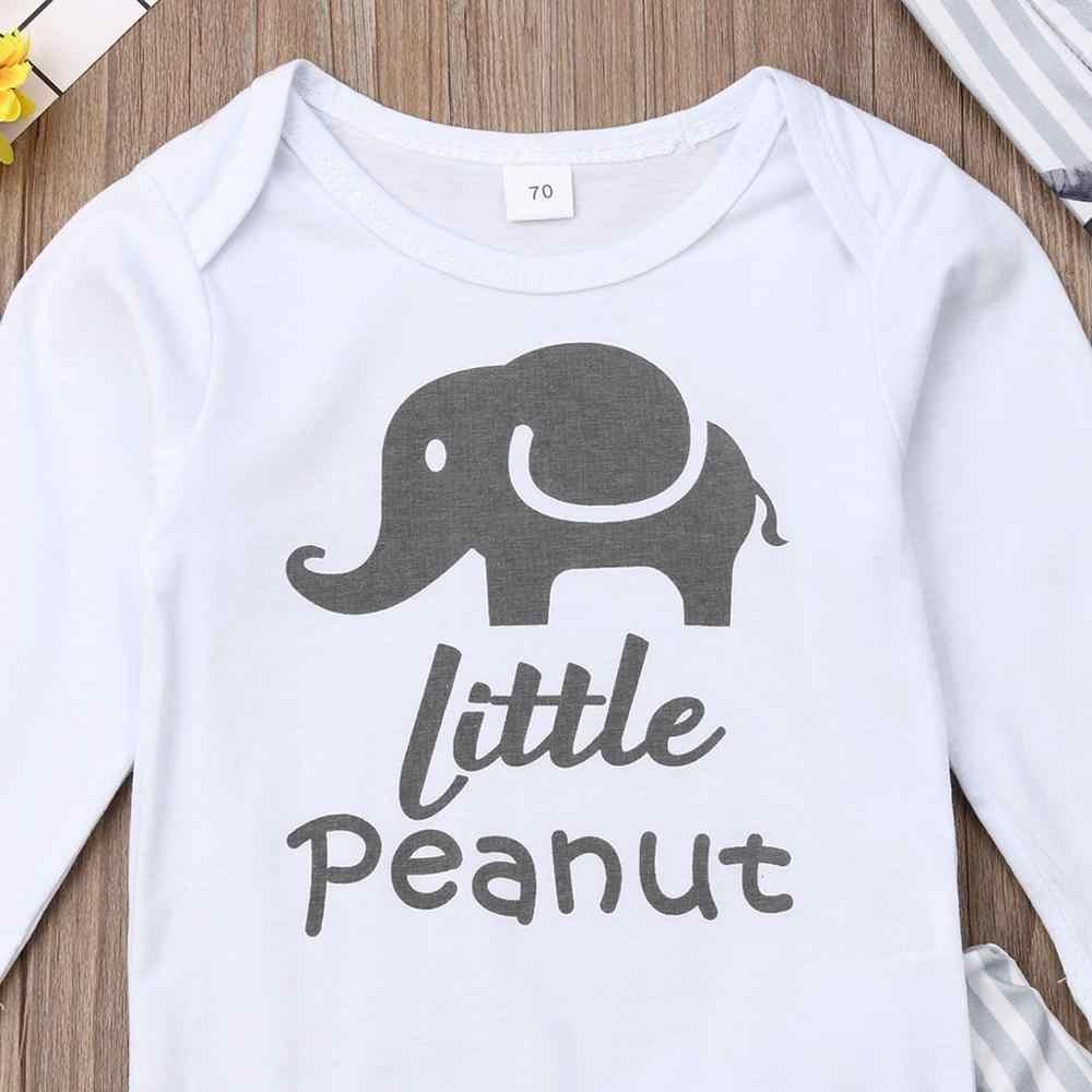 Новое поступление, Детский комбинезон белого цвета с надписью «слон» для маленьких мальчиков и девочек, боди + штаны в полоску с принтом + шапка, Z19 $