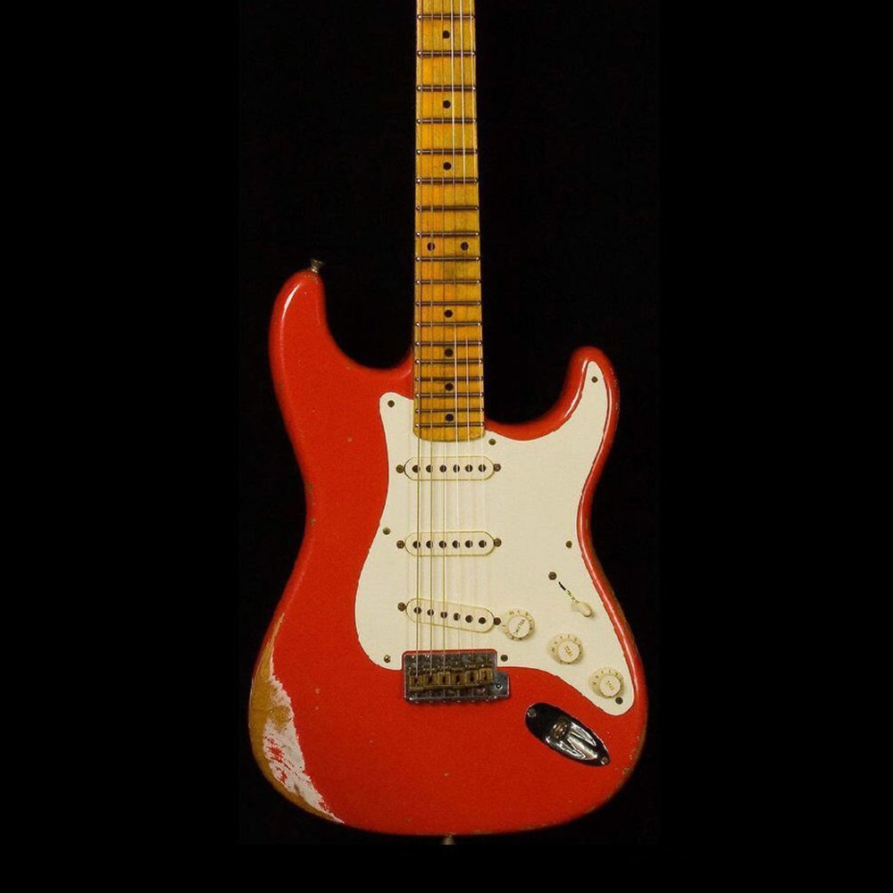 custom shop,st 6 Strings maple fingerboard Electric Guitar, relic stratocaster gitaar.red color guitarra.real photos