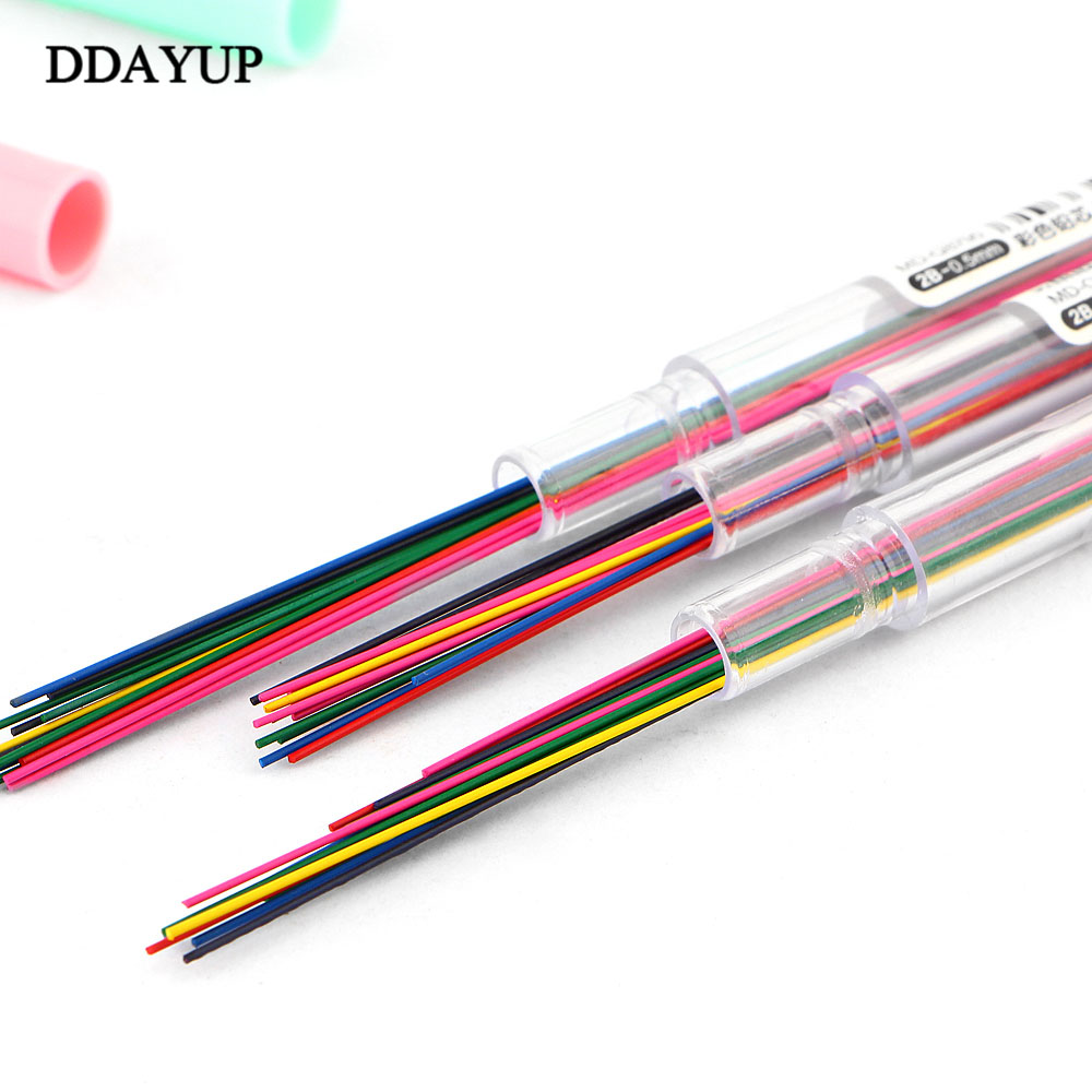 4Pcs/lot 0.5mm 0.7mm Colorful Mechanical Pencil Lead Art Sketch Drawing Color Lead School Office Supplies