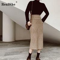 Realshe Women Skirt Long High Waist Elastic Solid Knitted Long Skirt Autumn Winter Elegant Casual Sheath Skirt Jupe Longue Femme