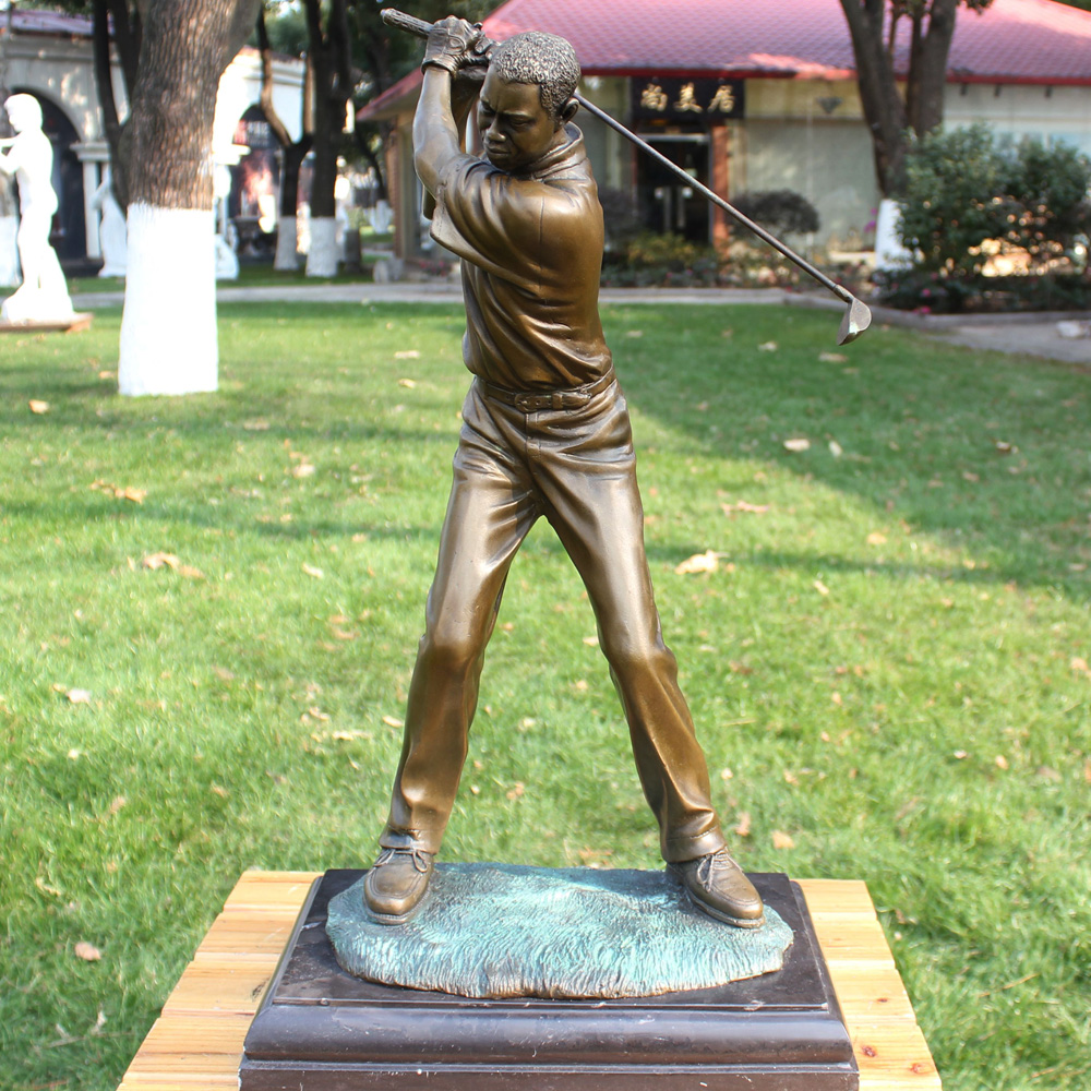 Male Tiger Woods Golf Movement Bronze Sculpture Like Works Of Art Home Furnishing Decorations Gift Ornaments Copper Living Room